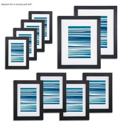 10 Pack Photo Frame Set with White Mat for Table Display and