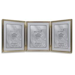 Lawrence Frames 11480T Antique Gold Bead Hinged Triple Pictu