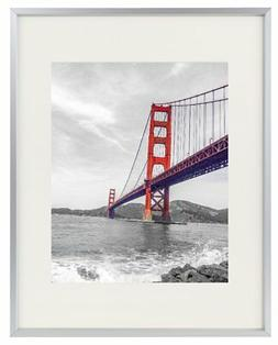 Frametory, 11x14 Aluminum Silver Photo Frame with Ivory Colo