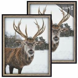 Frametory, 11x14 Black/Grey-Brown Picture Frame - Set of 2 -