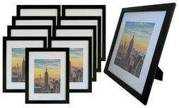Frame Amo 11x14 Black Wood Picture Frame, Mat for 8x10, 1 in