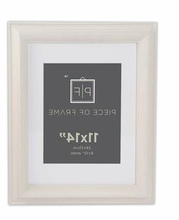 11x14 Brushed Beige Color Photo Frame 2-inch wide with White