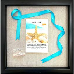 12x12 Display Shadow Box Frame with Linen Background and 8 S