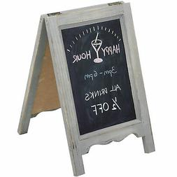 15-inch Mini Tabletop Gray Wood A-Frame Double-Sided Chalkbo