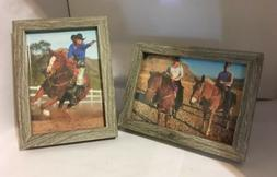 """2 pcs of 5x7"""" Barn Wood Color Picture Frame Set, Shadow Bo"""