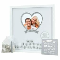 Pearhead 20-Inch x 20-Inch Wedding Wishes Shadow Box in Whit