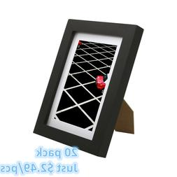 20 Pack 5x7 Picture Frames Set with 4x6 Mat Black for Wall G