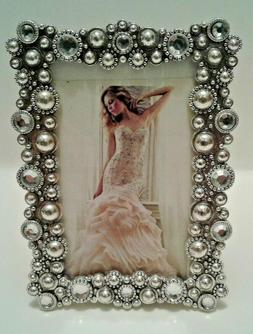 2x3 silver Antique Style Jeweled Picture Photo Frame Or Plac