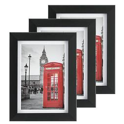 3pc 5x7 Picture Frame Black with 1 Mat for 4x6 Document Wood