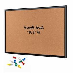 ORIENTOOLS 48 x 36 Inch Cork Board with 10 Color Pins Bullet