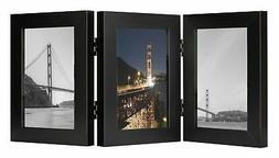 Frametory, 4x6 Inch Triple Hinged Black Picture Frame - Made