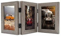 Frametory, 4x6 Inch Triple Hinged Grey Picture Frame - Stand