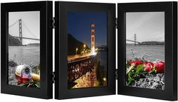 Frametory, 5x7 Inch Hinged Picture Frame Black with Glass Fr