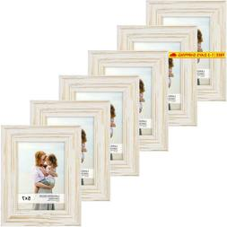 Langdon House 5X7 Real Wood Picture Frames (6 Pack, Weathere