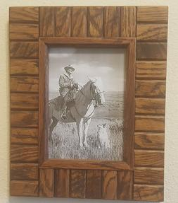 5x7 Wood Block Picture Frame, Unique, Rustic, Wood Block, by