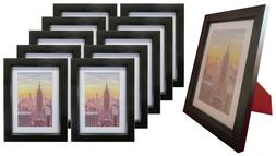 Frame Amo Black Wood Picture Frame with White Mat, Glass Fro