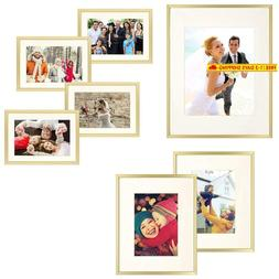Frametory 7 Piece Gold Aluminum Wall Frame With Ivory Color