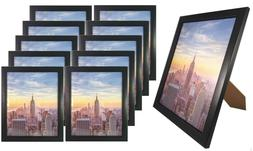 Frame Amo 8x10 Black Wood Picture Frame Glass Front, Wall or