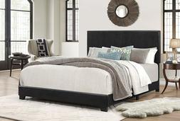 Bed Frame King Size Bedroom Headboard Espresso Faux Leather