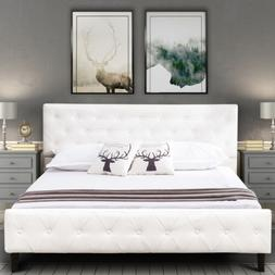 Full Size PU Leather Metal Bed Frame Button Tufted Mattress