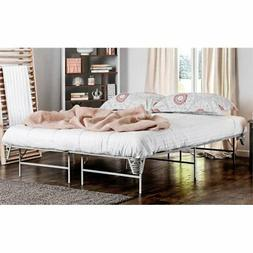 Furniture of America Polosa California King Bed Frame in Sil
