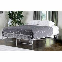 Furniture of America Polosa Queen Bed Frame in Silver