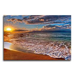 Wall Art Painting Beach Sunrise White Wave Prints On Canvas