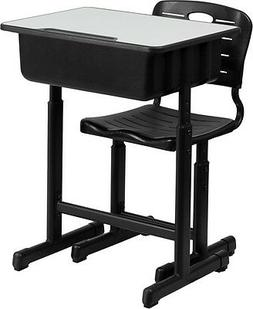 Adjustable Height Student Desk and Chair with Black Pedestal