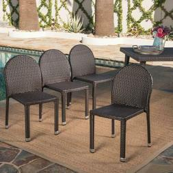 Amallie Outdoor Multibrown Wicker Stacking Chairs With Alumi