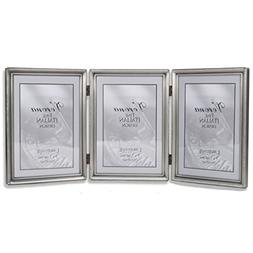 Lawrence Frames Antique Pewter 5x7 Hinged Triple Picture Fra