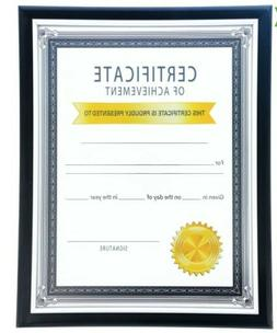 Black Certificate Document Frames with Silver Accents 8.5x11