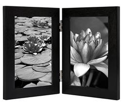 """4"""" x 6"""" Black Hinged Picture Frame Glass Front Elegantly Dis"""