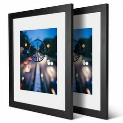 Black Picture Frame Set of 2 Home Office Wall Mount Wood Pho