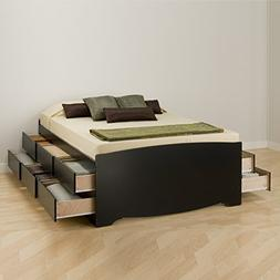 Black Tall Queen Captain's Platform Storage Bed with 12 Dr