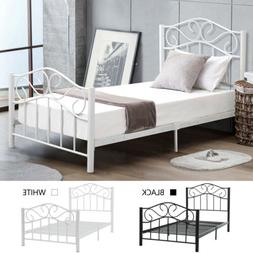 Twin Size Heavy Duty Metal Bed Frame Platform Headboard Foot