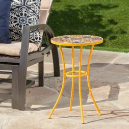 Brienne Outdoor Yellow Ceramic Tile Side Table with Iron Fra