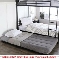 BUNK BEDS KIDS Black Metal Twin Bed Roll-Out Trundle Frame S