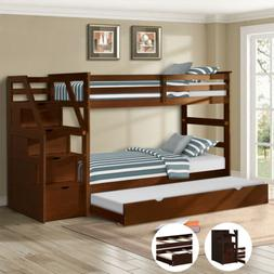 Bunk Twin Bed Pine Wood Frame With Storage Drawer Pulling Be