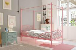 Dhp Canopy Bed With Sturdy Bed Frame, Metal, Twin Size - Pin