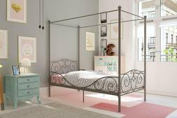 Dhp Canopy Bed With Sturdy Bed Frame, Metal, Twin Size - Pew