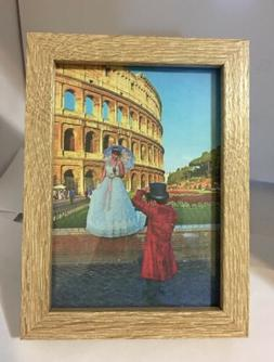 """Classic Walnut Color Shadow Box Picture Frame 5x7"""" with Gl"""