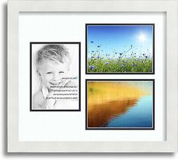 """ArtToFrames Collage Mat Picture Photo Frame 3 5x7"""" Openings"""