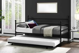 DAYBED WITH TRUNDLE Twin Size Metal Frame Bed Space Saving M