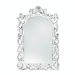 SET of 2 Distressed White Ornate Wall Mirror