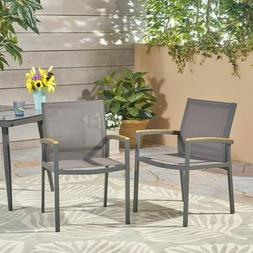 Emma Outdoor Mesh and Aluminum Frame Dining Chair , Gray