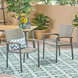 Emma Outdoor Wicker Dining Chair with Aluminum Frame
