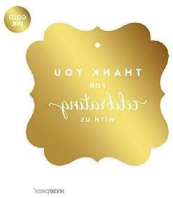 fancy frame square favor gift tags metallic