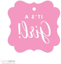 Andaz Press Fancy Frame Square Girl Baby Shower Gift Tags, I
