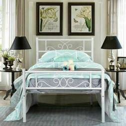 Foundation with Headboard and Footboard White Twin Size Meta