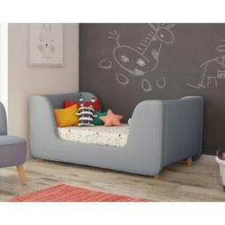 Gray Toddler Bed Luxurious Solid Wood Frame Kids Child Room